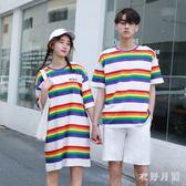 中大尺碼情侶裝 男上衣女連身裙夏季2019新款短袖彩色條紋款 DR26111【衣好月圓】