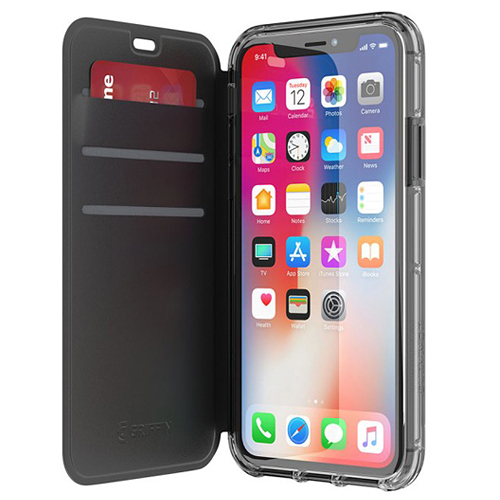 Griffin Survivor Clear Wallet for iPhone XS / XS Max 黑色側翻透黑背蓋防摔皮套