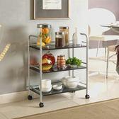 帶輪置物架廚房可移動置物架鐵藝層架落地客廳多功能家用分層帶輪收納推車 全館免運 igo