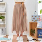 【Tiara Tiara】百貨同步新品aw  直條紋網紗2件式長裙(卡其)