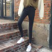 秋韓版修身彈力顯瘦學生窄管鉛筆褲高腰牛仔褲女九分褲子潮 港仔會社