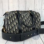 BRAND楓月 Christian Dior 迪奧 帆布 藍老花 兩用包 手提包 波士頓包 側背包 旅行袋 新版