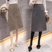 窄裙 chic高腰顯瘦格子毛呢半身裙女中長款呢子包臀裙一步過膝裙子 秋季新品