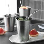 隨行杯 304不銹鋼吸管杯食品級兒童防摔單層金屬水杯子果汁冷飲杯隨手杯