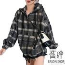 EASON SHOP(GW4375)韓版復古撞色格紋毛呢刷毛加絨加厚口袋前拉鍊長袖連帽T恤女上衣服落肩內搭衫寬鬆