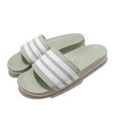 adidas 拖鞋 Adilette Comfort 綠 白 女鞋 基本款 舒適好穿 基本款【ACS】 FY7846