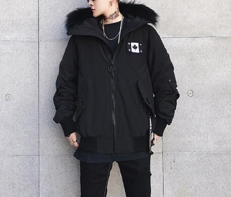 FINDSENSE Z1 韓國 時尚 潮 男 冬季 防寒保暖 毛領連帽 短款外套