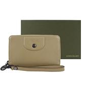 【南紡購物中心】LONGCHAMP LE PLIAGE CUIR系列新款小羊皮手掛式零錢夾(卡其)