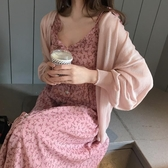 春夏裝新款輕熟風復古顯瘦小碎花連身裙甜美中長裙女