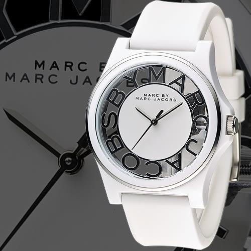 MARC By Marc Jacobs 玩酷達人時尚透視橡膠錶-白(MBM4015)