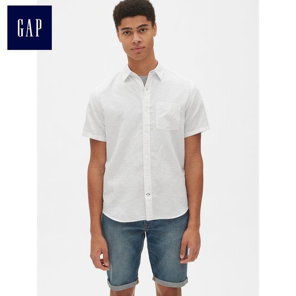 Gap男裝 亞麻混紡短袖襯衫 441124-光感白
