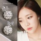 925純銀針  韓國優雅氣質  珍珠水鑽球球  耳環-維多利亞181184