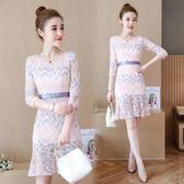 洋裝夏季新款女裝七分袖修身魚尾裙蕾絲連衣裙a字裙子 EY4285 『優童屋』