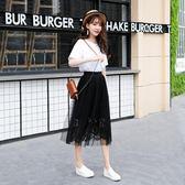 網紗裙女半身裙春中長款2019新款很仙的黑色百褶長裙仙 伊蒂斯女裝