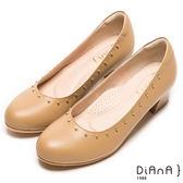 DIANA 時尚個性--經典時尚原色光澤金屬鉚釘真皮跟鞋-卡其★特價商品恕不能換貨★