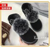 冬季新款女靴百搭韓版短筒短靴加絨保暖棉鞋女學生毛毛雪地靴 Korea時尚記