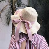遮陽帽  帽子夏天草帽韓版大檐刺繡英文休閑學生海邊防曬帽