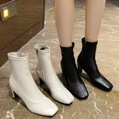 襪靴.法式經典皮革縫線側拉鍊高跟短靴.白鳥麗子