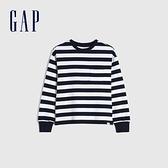 Gap男童 舒適純棉圓領長袖T恤 661665-海軍藍條紋