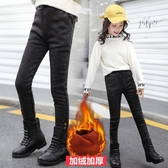 女童打底褲 女童牛仔褲加絨加厚秋冬裝洋氣外穿長褲兒童鉛筆褲冬季一體絨打底-Ballet朵朵