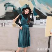 中大尺碼背帶裙 秋冬新款韓版時尚氣質外搭吊帶洋裝百搭金絲絨中長款 AW8258『愛尚生活館』