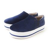 Petite Jolie 學院派絨布厚底休閒鞋-深藍