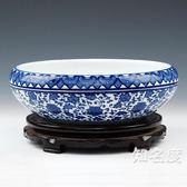 魚缸 陶瓷器 青花手繪寫意水淺金魚缸盆養水仙荷花睡蓮 家居擺件T 3色