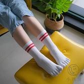 5雙裝 純棉五指襪中筒全棉分趾襪運動分指襪【小酒窩服飾】
