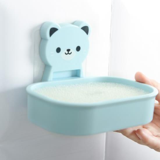 ✭米菈生活館✭【P464-1】卡通小熊肥皂盒 強力 無痕貼 動物 置物 肥皂架 浴室 瀝水 香皂架