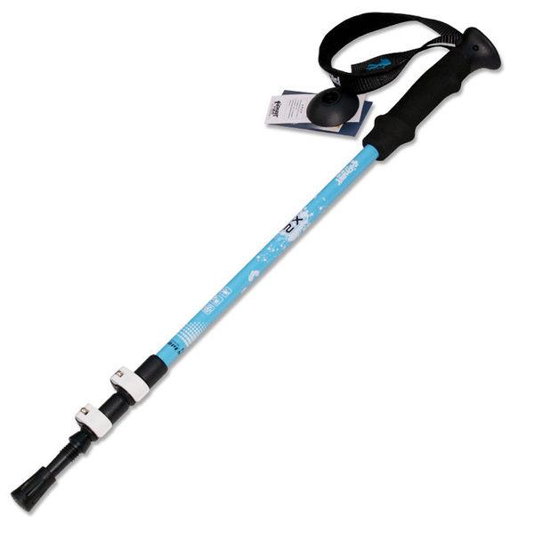 PUSH!戶外休閒登山用品 加厚管壁杖航空鋁合金鎢鋼杖尖三節調整式登山杖一入P68