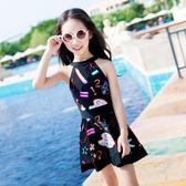 佑游新款泳衣女孩中大童韓國連身裙式平角兒童泳衣女童學生游泳衣    9號潮人館