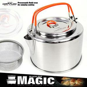 水壺【CAMP LAND】1L不鏽鋼燒茶壺(快易收折疊鍋.湯鍋.咖啡壺.鍋具組推薦哪裡買特賣會專賣