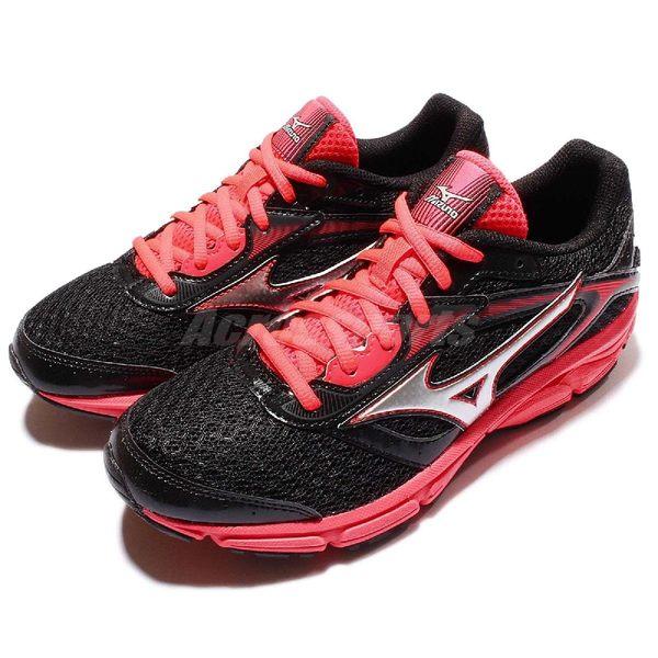 美津濃 Mizuno Wave Impetus 4 W 黑紅 運動鞋 慢跑鞋 女鞋【PUMP306】 J1GD161303