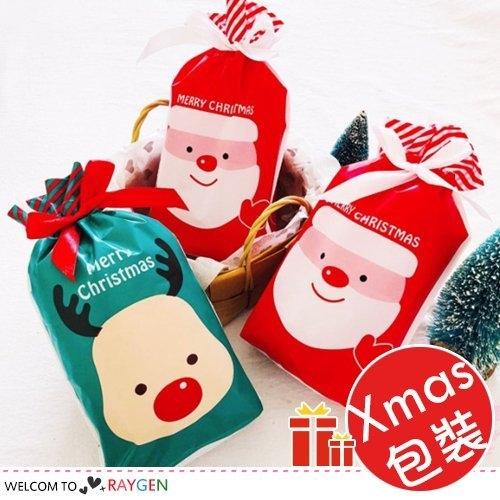 紅綠聖誕老人麋鹿抽繩束口袋 禮品包裝袋 單售