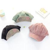 韓國空運塗鴉刺繡燈心絨鴨舌帽 童帽 鴨舌帽
