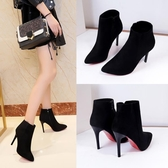 女鞋子2020秋冬季新款韓版時尚絨面短靴女高跟尖頭細跟馬丁靴裸靴 童趣