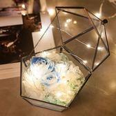 永生花禮盒diy玻璃罩生日情人節禮物干花送女友藍色妖姬玫瑰鮮花 居享優品
