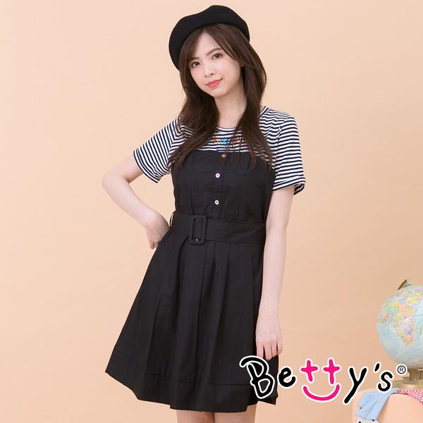 betty's貝蒂思 假兩件拼接條紋洋裝(黑色)