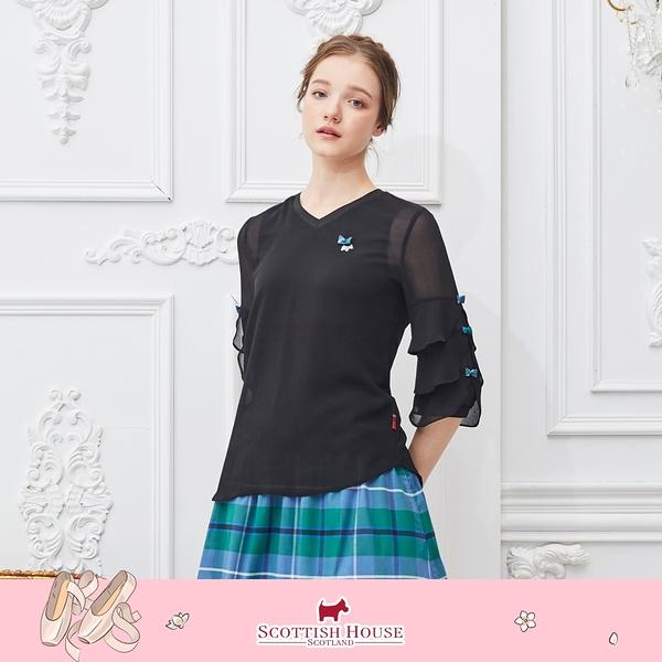 V領七分雪紡袖素面上衣 Scottish House 【AM1353】