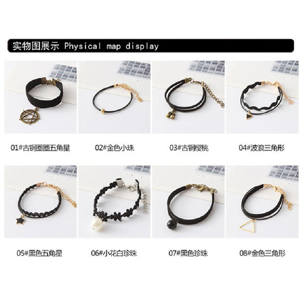 韓版 歐美 復古 珍珠 編織 絨帶 蕾絲 簡約 多層 情侶 手鍊 女孩 飾品 手串