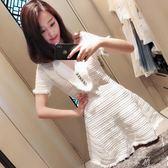 v領白色裙子女裝夏裝2018新款韓版收腰名媛小香風針織洋裝蓬蓬     米娜小鋪