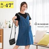洋裝--層次穿搭棉T拼接假兩件修身大口袋V領牛仔短袖連身裙(藍M-3L)-D591眼圈熊中大尺碼