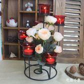 歐式浪漫燭臺 鐵藝燭光晚餐婚慶道具擺件 BS21698『毛菇小象』