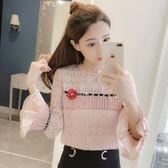 新款韓版甜美公主風精致蕾絲長袖喇叭袖小清新立體花朵上衣GD-4F-417-A韓依戀