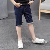 牛仔短褲男童牛仔褲2018新品夏裝兒童中褲中大童厚款彈力七分褲寶寶短褲男