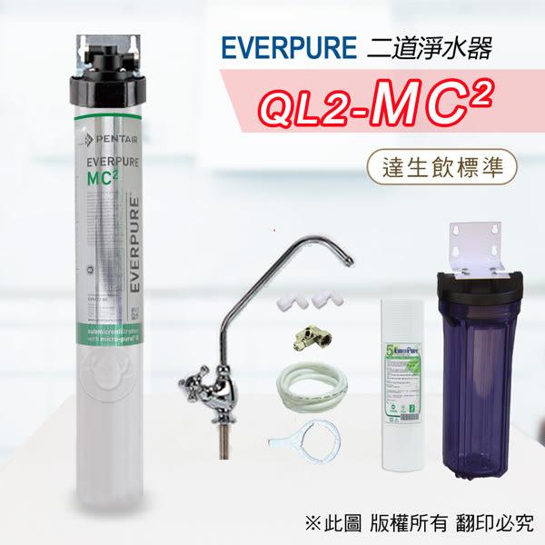 水蘋果居家淨水~快速到貨~免運費~Everpure美國原廠 MC2 二道吊片型淨水器(自助型含全套配件)