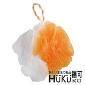 【HUKUKU福可】亮彩果凍沐浴球(橘+白)|澡球 浴花 浴球 海綿球 背搓