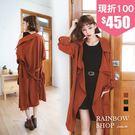 俐落翻領開襟雪紡風衣罩衫-M-Rainbow【A00-90193】