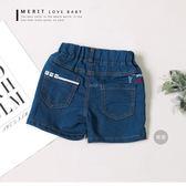 後口袋英文方塊橫條刺繡個性牛仔褲 短褲 車線 美式 女童 哎北比童裝