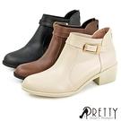 B-27804 女款短靴 俐落個性皮帶釦後拉鍊粗跟短靴/踝靴【PRETTY】